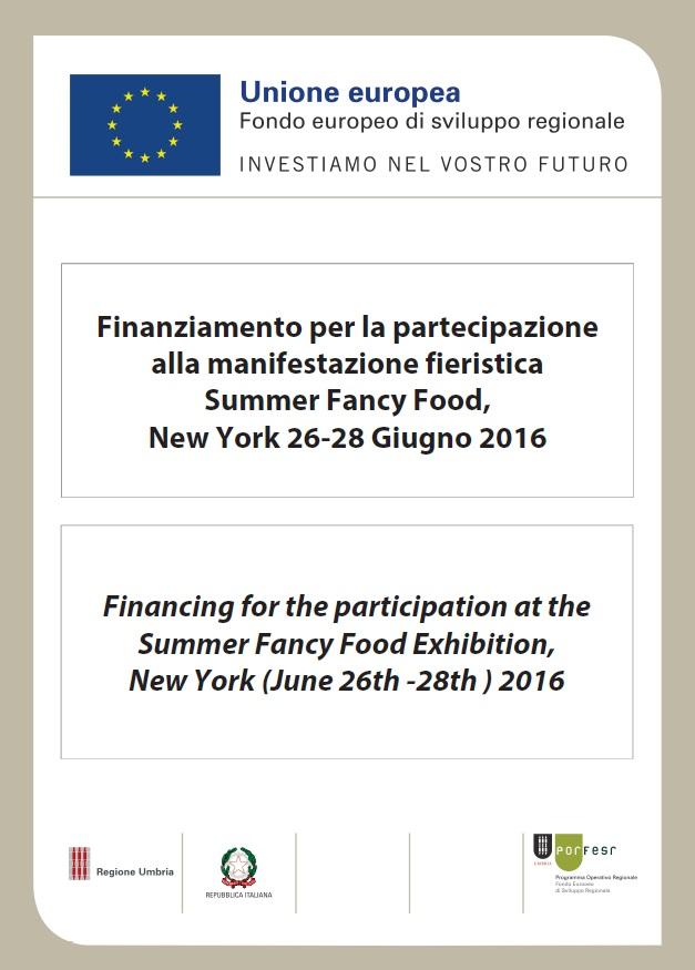 Finanziamento per partecipazione al Summer Fancy Food 2016